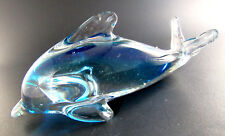 Solid Clear And Blue Glass Delphin Figurine Paperweight (E48)