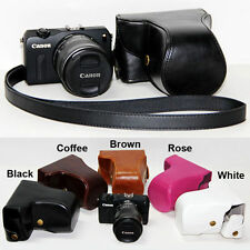 Leather Camera case bag Cover For Canon EOS M3 camera+ 18-55mm lens