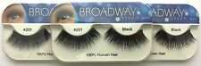 NEW LOT OF 3 BROADWAY EYES BLA17 100% HUMAN HAIR BLACK STRIP #201 EYELASHES