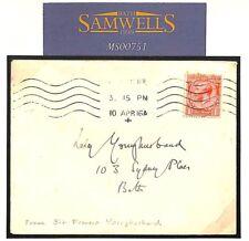 MS00751 1916 GB TIBET EXPLORER *Sir Francis Younghusband* Handwritten Cover RARE