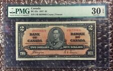 1937 $2 Canada Banknote BC-22c Coyne | Towers PMG 30 EPQ S/N J/R 8659069