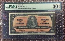 1937 $2 Canada Banknote BC-22c Coyne | Towers PMG 30 EPQ S/N J/R 8659069