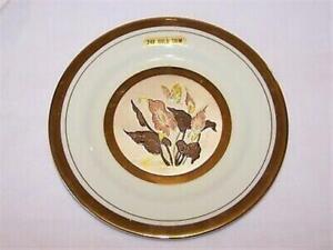 Beautiful Chokin 24K Gold Trim Small Plate - Flowers, Butterfly