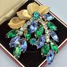 Vintage Brooch Large 1950s Blue & Green Crystal Goldtone Leaves Bridal Jewellery