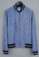 Men Gant Zip Cardigan Chambray Varsity Blue Cotton M XIM851