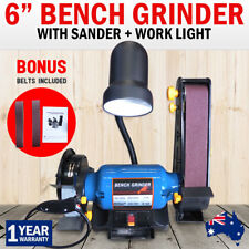 "6"" Bench Grinder Linisher 1/2HP Sanding Grinding 370W 150mm Wheel Belt Sander"