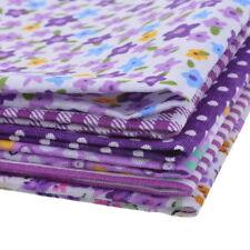 6 Stück  25cm Lila Quadratisch Baumwolle Patchwork Tuch Blumenmuster Stoffpakete