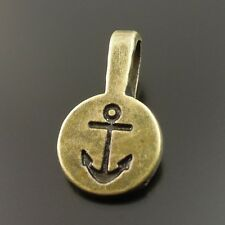 60X Antique Style Bronze Tone Alloy Ring Anchor Round Pendant Bail 18*10*1mm