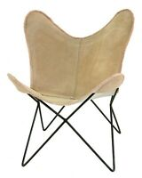 Bunbury Butterfly Chair Iron Stand and Leather Cover Indoor Outdoor Chair
