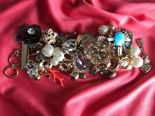 Betsey Johnson Huge Lucky Charms Coral Pearl Scarab Clover Bracelet Sold Out