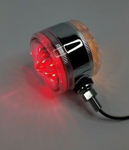 """3"""" LED Double Face Pedestal Turn Signal Light, Red & Amber w/ Clear Lenses"""