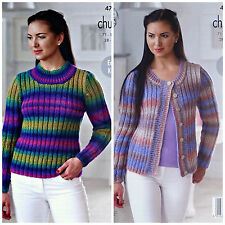 KNITTING PATTERN Ladies Easy Knit Rib Jumper & Cardigan Chunky King Cole 4715