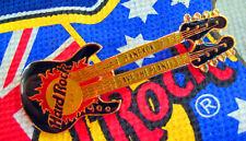 BANGKOK VINTAGE BLACK ENAMEL *FENDER BASS* DOUBLE NECK GUITAR Hard Rock Cafe PIN