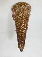 "Vintage Murano Conicity Art Glass Brown Amber Pendant Light Shade, 16 1/2"" Tall"