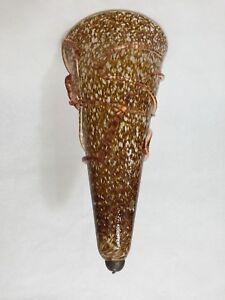 "VTG Murano Bavai Conicity Art Glass Brown Amber Pendant Light Shade, 16 1/2"" T"