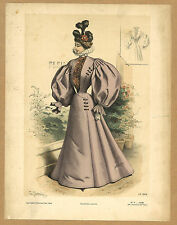 1896 old Print VICTORIAN high FASHION Couture lilac Dress robe manteau FRANCE