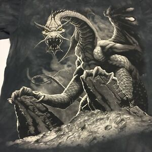 Dragon Gray Tye Dye Large T-shirt Mythical Fire Creature Folklore Monster