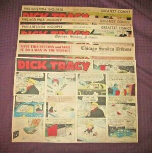 1943 -6 WEEKS DICK TRACY ASSORTED SUNDAY  NEWSPAPER COLOR COMIC STRIPS