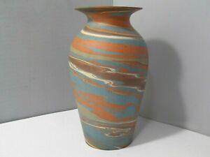 "Niloak Clay Pottery Vase Mission Swirl Design 8 1/2""  Blue, Brown, Rust Colors"