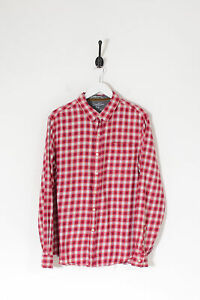 Vintage Fitted Checked Shirt Red & White (L)
