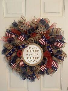 Farmhouse Burlap Deco Mesh Everyday Patriotic Wreath