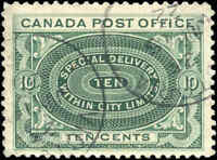 1898 Used Canada F-VF Scott #E1 10c Special Delivery Stamp