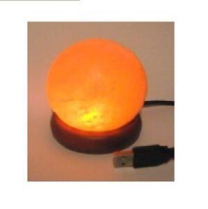 Himalayan Rock Salt Pink Globe Mini USB Lamp LED Natural Relaxing Night Light