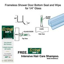 "Shower Door Dual Durometer PVC Seal & Wipe for 1/4"" Glass - 32"" long w/ Shampoo"