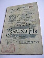 Catalogue 1912 MANUFACTURE DE VOLIÈRES, CAGES D'OISEAUX, GARDE-MANGERS - BARTHÈS