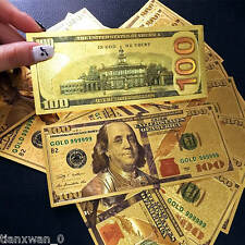 10Pcs 24K Gold Foil Dollars $100 Banknotes Home Decor Arts Collections Gifts