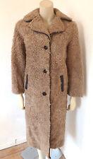 Vintage 1960s 60s Shearling Curly Sheepskin Hippy Coat Size Medium - Large