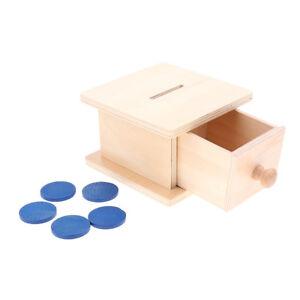 Montessori Piggy Bank Sensorial Material Wooden Coin Box Preschool Kids Toys