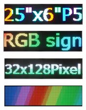 "LED RGB P5 Full Color Sign 25"" X 6.5"" USB Programmable Scrolling Display Messag"