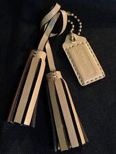 Coach FOB Charm Handbag Accessory Leather Tassel Fringed& Beige Tag NWOT