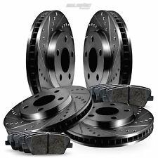 Fit 1992-1994 Acura Vigor Front Rear Black Drill Slot Brake Rotors+Ceramic Pads