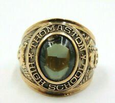 Vintage Josten 1968 10k Yellow Gold 3D Green \u201cNP\u201d Shield Class Ring Size 6 12