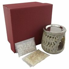 Geschenkset Räucherstövchen AMANA aus indischem Speckstein mit Sieb und Scheibe