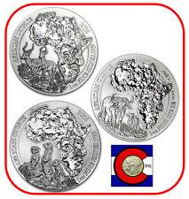 2014, 2015, 2016 Rwanda Impala, Cape Buffalo & Meerkat, 3 Coins, each 1oz Silver