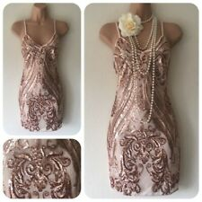NEW Sequin Embellished Flapper Party Dress Christmas Evening UK size 10