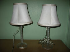 Pair Lovely Vintage Hollywood Regency Cut Crystal Table Lamps w/Shades