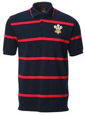 MENS WELSH RUGBY NAVY YARN DYED RED STRIPE POLO SHIRT Cymru Dragon Wales Gift