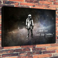 """Atheist Yuri Gagarin Quote Printed Canvas Picture A1.30""""x20""""30mm Deep Home Decor"""
