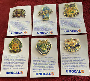 1987 Los Angeles Dodger Unocal 76 Pins #1-6. New Condition.