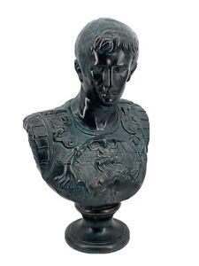 "Vintage 1974 Signed Large Julius Caesar Roman Emperor Plaster Bust Statue 24"" T"