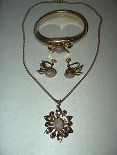 3Pc Vintage CORO Goldtone Faux Opal & Purple Crystal Necklace-Bracelet-Earrings