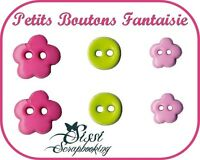 LOT PETIT BOUTON FANTAISIE FLEUR ROND SCRAPBOOKING SCRAP COUTURE CUSTOMISATION