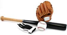 IN LEGNO BASEBALL BAT Set con Baseball Guanti e BALL giardino giochi giochi sportivi
