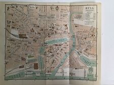 1906 Original Antique Street Map Bartholomew, Plan Of HULL, Hotels, Roads