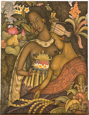 "ORIGINAL BALINESE PAINTING, BY NIK SUARDANA, ACRYLIC ON CANVAS, ""OFFERINGS"""