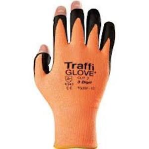 Pair of Traffi Glove TG350 3 digit glove work PPE 3 exposed finger tip dexterity